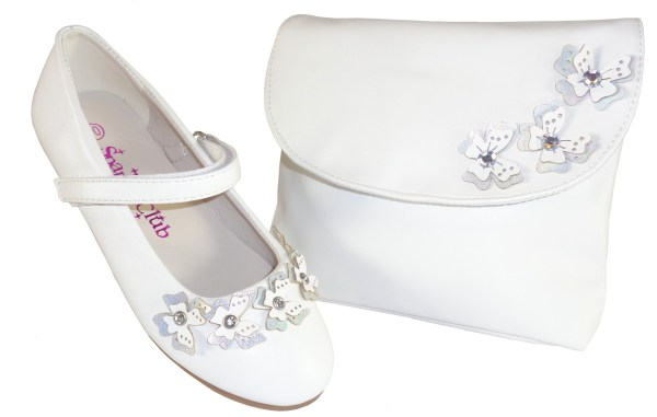 Girls white flower girl ballerinas and bag with butterfly trims-0