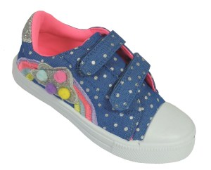 Young girls blue and rainbow sparkly trainers