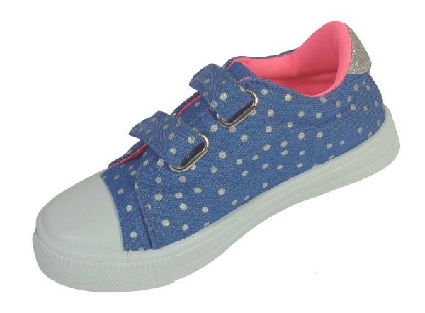 Young girls blue and rainbow sparkly trainers-6623