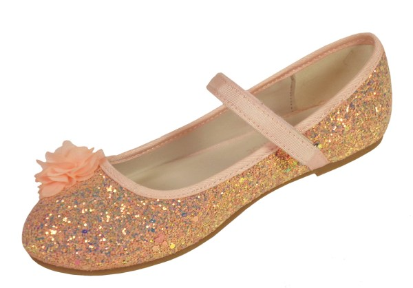 Girls pink peach sparkly glitter ballerina party shoes-6613