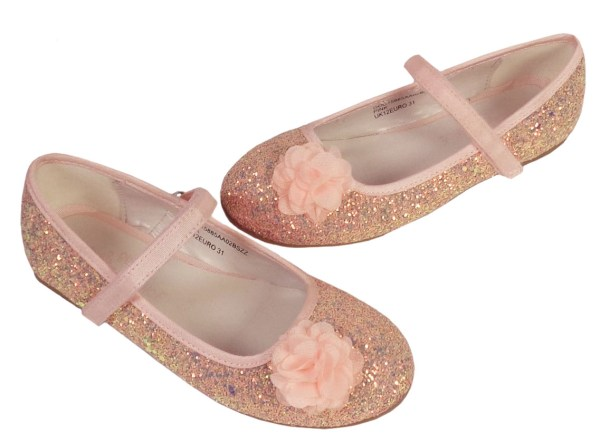 Girls pink peach sparkly glitter ballerina party shoes-6617