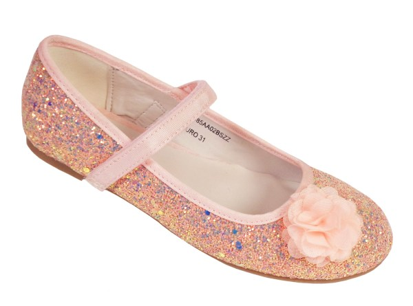 Girls pink peach sparkly glitter ballerina party shoes-0