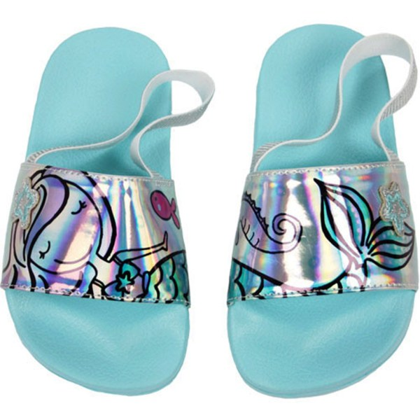Young girls blue summer sliders