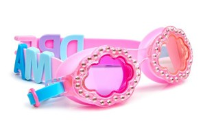 Girls fun cloud shaped pink swimming goggles with gems