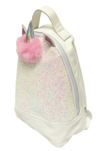 Girls white with iridescent glitter mini unicorn backpack
