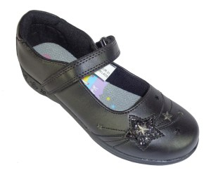 Girls black PU school shoes with sparkly stars