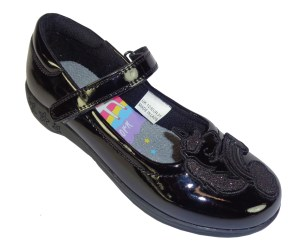 Girls black patent Unicorn school shoes