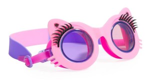 Girls fun cat shaped pink swimming goggles with lashes