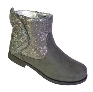 Girls sparkly grey and silver ankle boots
