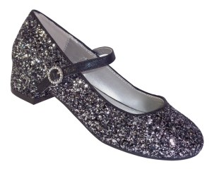Girls black and silver glitter heeled shoes