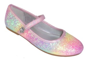 Girls rainbow glitter ballerina pink shoes