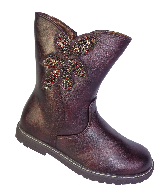 Girls burgundy sparkly western calf