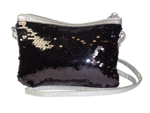 Childrens black and silver sparkly sequin overbody bag