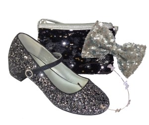 Girls black and silver glitter heeled shoes and bag gift set
