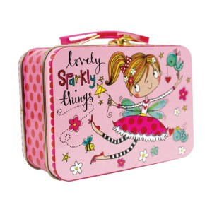 Young girls small pink fairy tin bits and bobs case