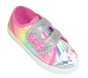 Young girls rainbow glitter and Unicorn trainers