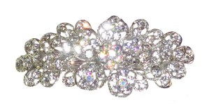 Older girls sparkly diamante flower barrette hair clip
