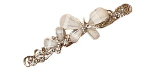 Girls silver diamante and butterfly hair clip