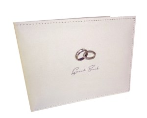 Wedding guest book with sparkly silver rings