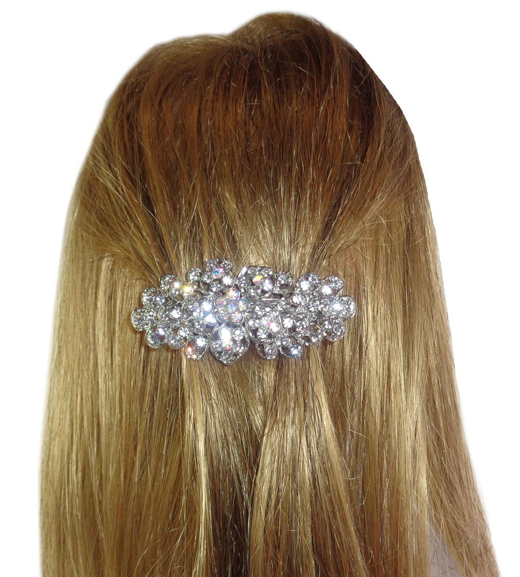 5085Sparkly Diamante Flower hair Clip