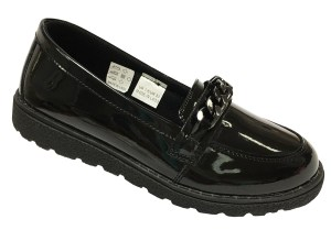 Older girls black patent loafer fashion school shoes