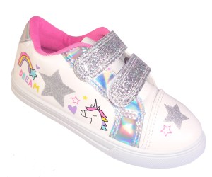 Young girls white and silver sparkly trainers