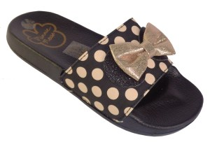 Girls Minnie Mouse black and rose gold slider sandals