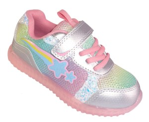 Young girls sparkly rainbow trainers with flashing lights