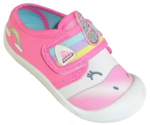Young girls Unicorn sparkly pink canvas trainers
