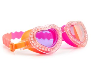 Girls fun heart shaped pink and peach swimming goggles with gems