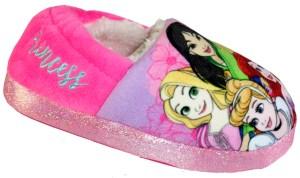 Girls pink sparkly Disney princess slippers