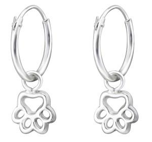 Girls sterling silver paw print hoop earrings