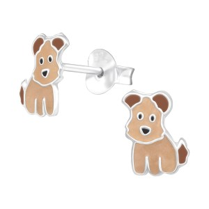 Girls Dog 925 Sterling Silver Colourful Ear Studs