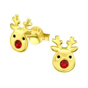 Girls Reindeer 925 Sterling Silver Crystal Ear Studs