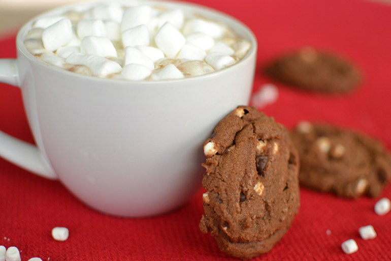 Hot Chocolate with Little Marshmallows and Cookies