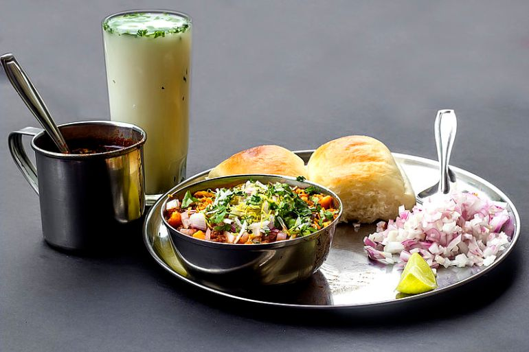 Misal Pav with a Glass of Piyush