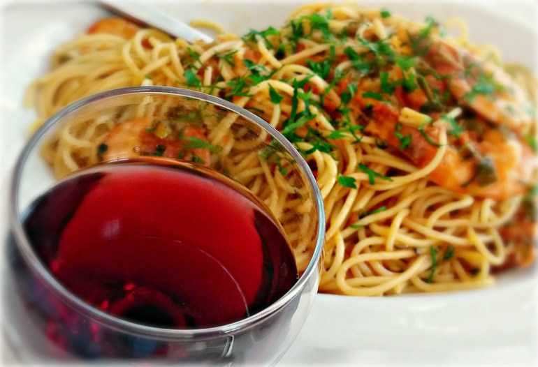 A Glass of Red Wine & A Bowl of Spaghetti