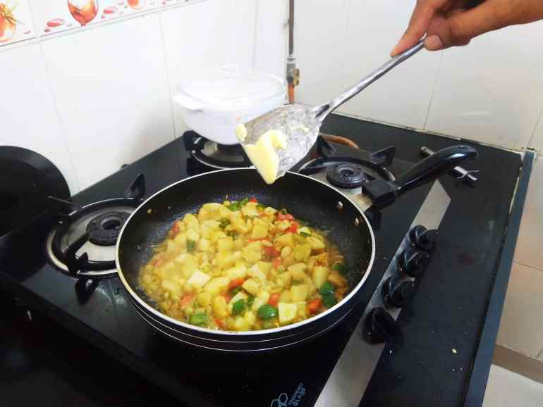 Add Butter to enhance the taste of Bhaji