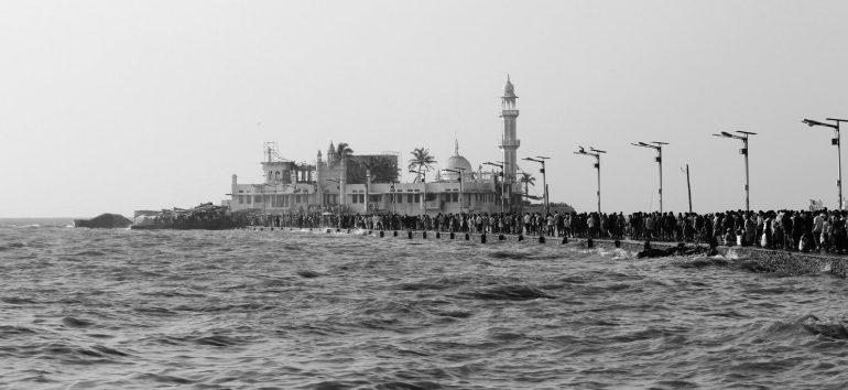 Black and White photo of Haji Ali Dargah, Worli