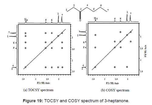 TOCSY and COSY spectrum of 3-heptanone