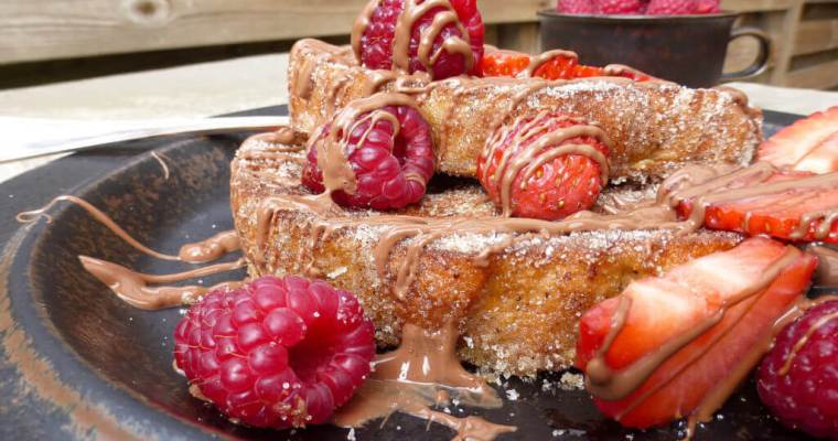 Churros French Toast (with milk chocolate, strawberries & raspberries)