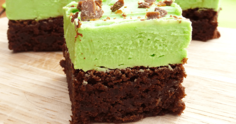 St Patrick's Day Chocolate Spelt Brownies with Mint Frosting