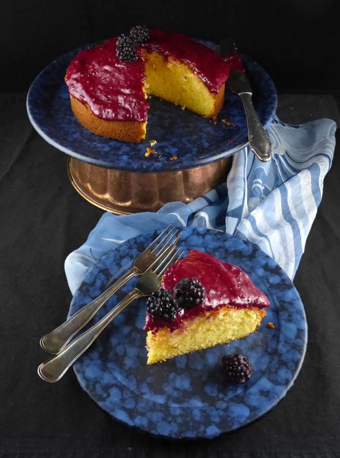 picture of a lemon and blackberry cake
