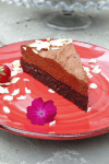picture of a brownie mousse cake on a red plate