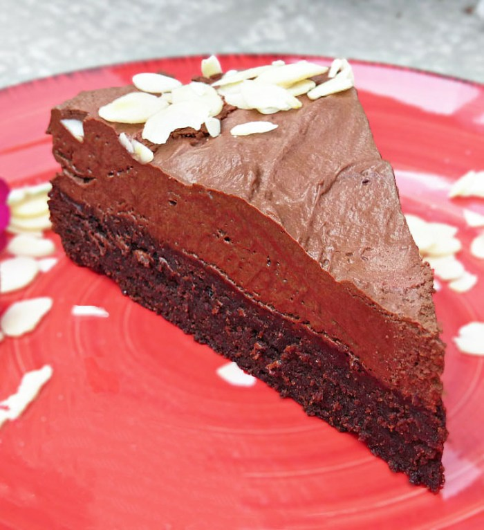 picture of a chocolate cake on a red plate