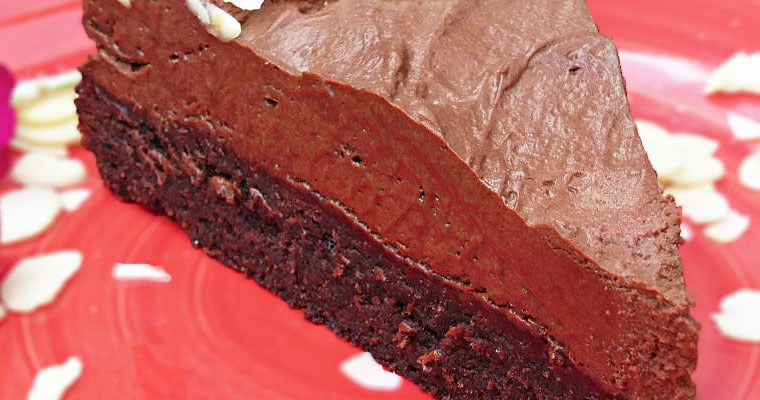 Spelt Brownie and Dark Chocolate Mousse Cake