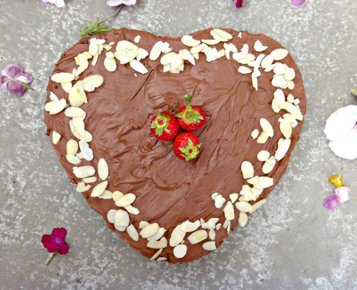 picture of a heart shaped chocolate mousse cake