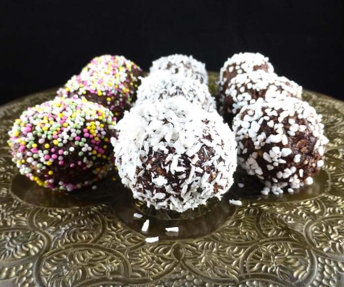 close up of a swedish chocolate oat ball