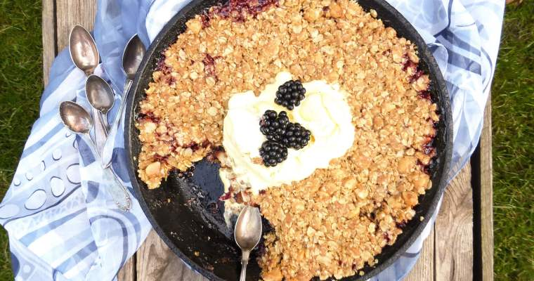 Skillet Blackberry Apple Oat Crunch with Salted Macadamia