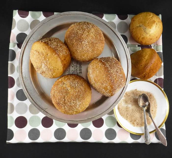 overhead picture of four muffins on a tray